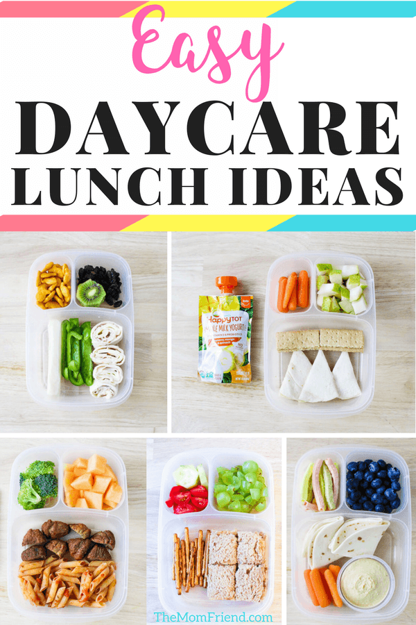 collage of toddler lunches for daycare with words easy daycare lunch ideas