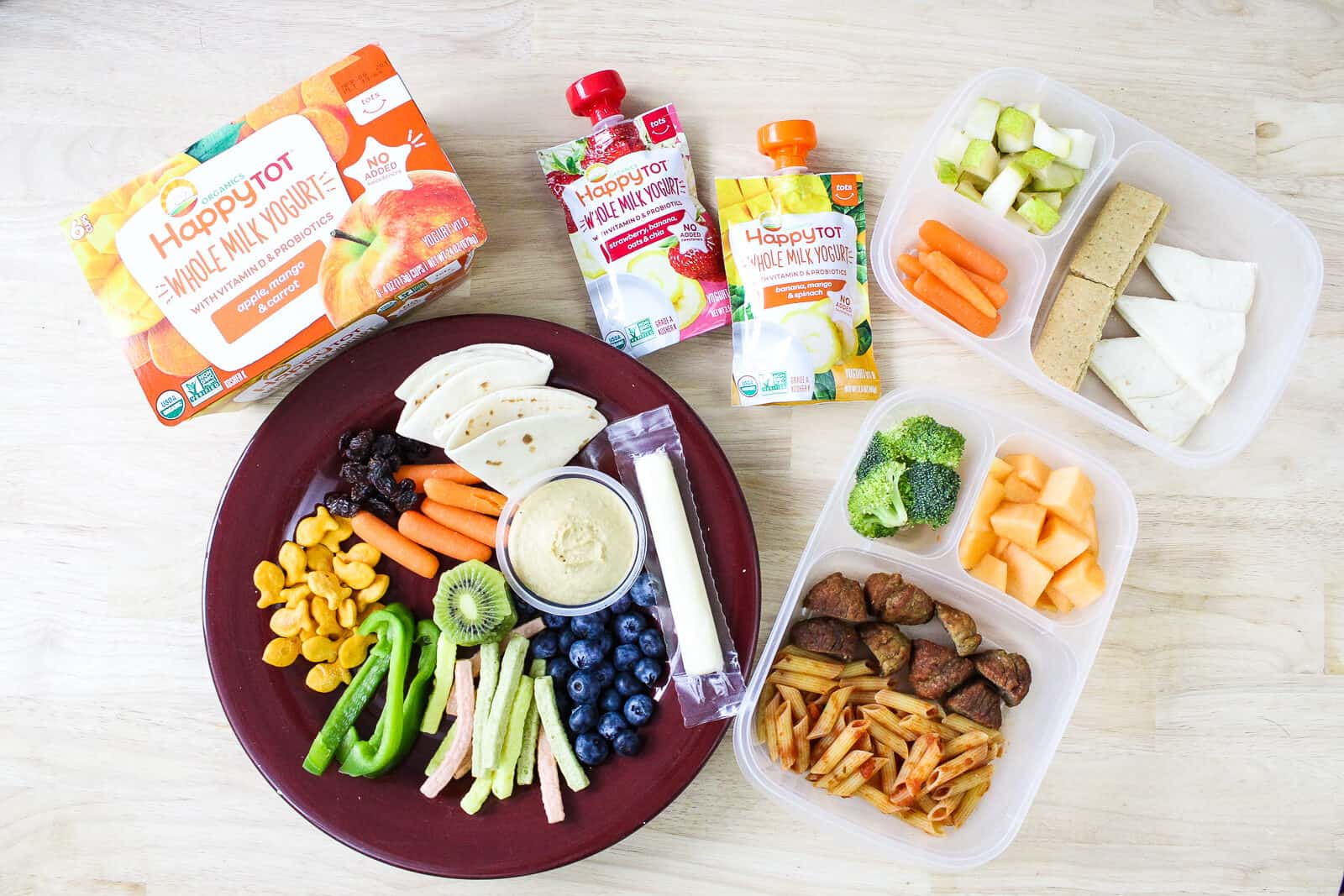 Toddler friendly food on a plate and in a lunchbox