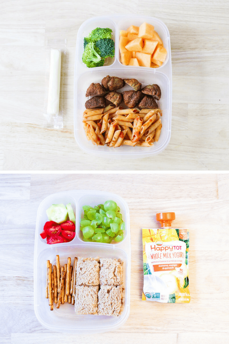 bento boxes with easy daycare food including sliced meatballs, pasta, sandwich on a table