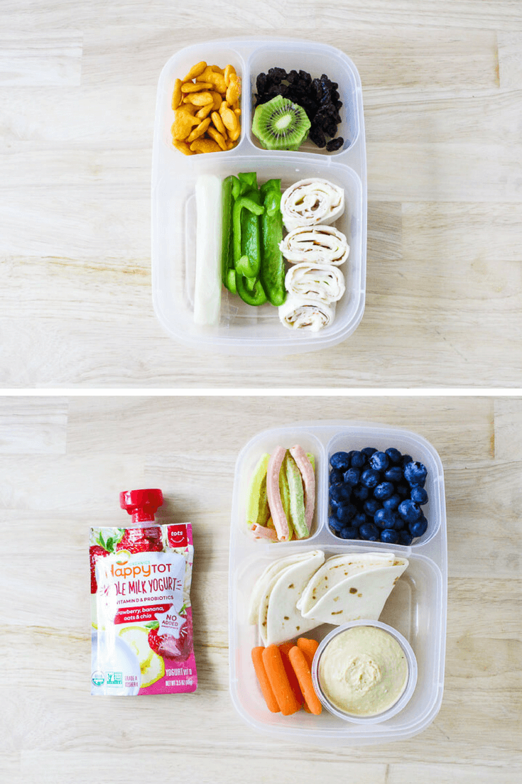collage of two toddler lunch boxes with hummus, fruits and vegetables