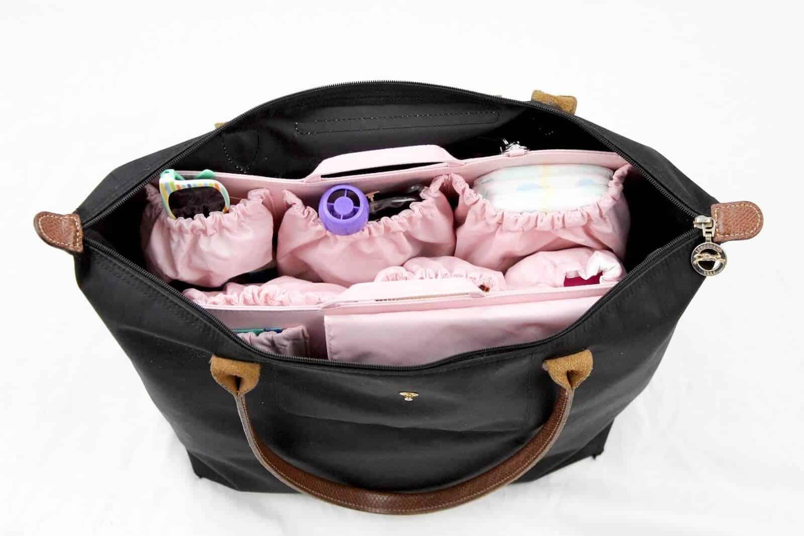 Diaper bag organization for toddler items.