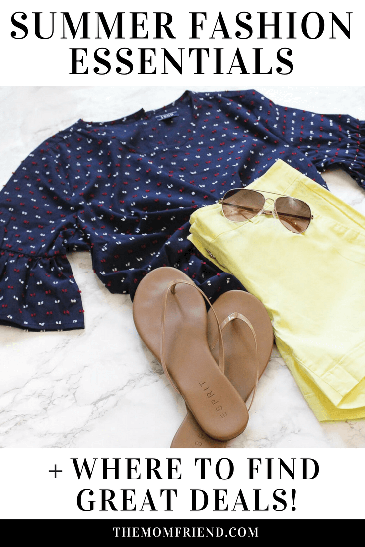 Summer top and yellow shorts next to flip flops and sunglasses.