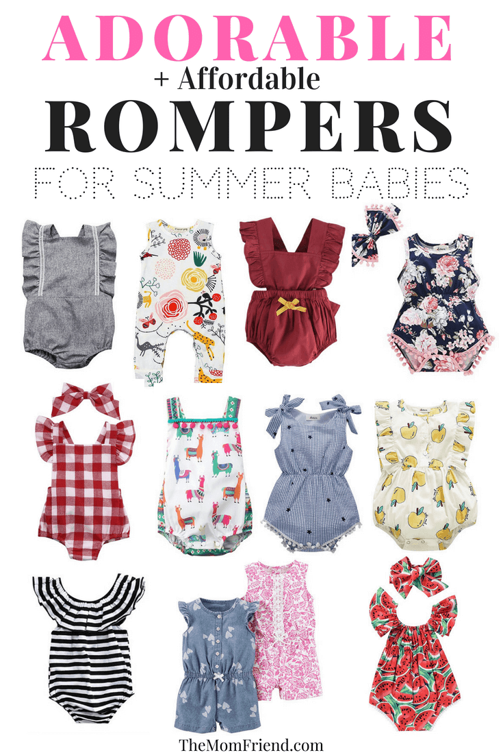 Pinterest graphic with text and collage of baby girl rompers for summer.
