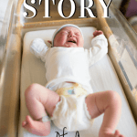 Pinterest graphic with text for Charlie's birth story and image of baby in hospital bassinet.