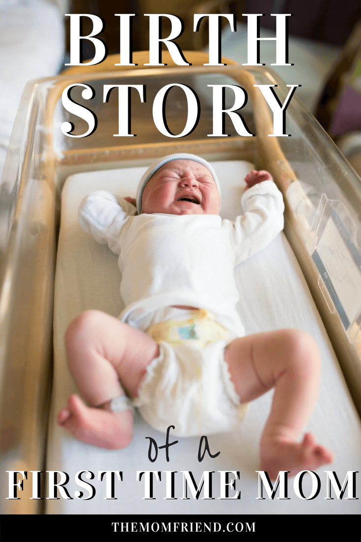 Pinterest graphic with text for Charlie\'s birth story and image of baby in hospital bassinet.