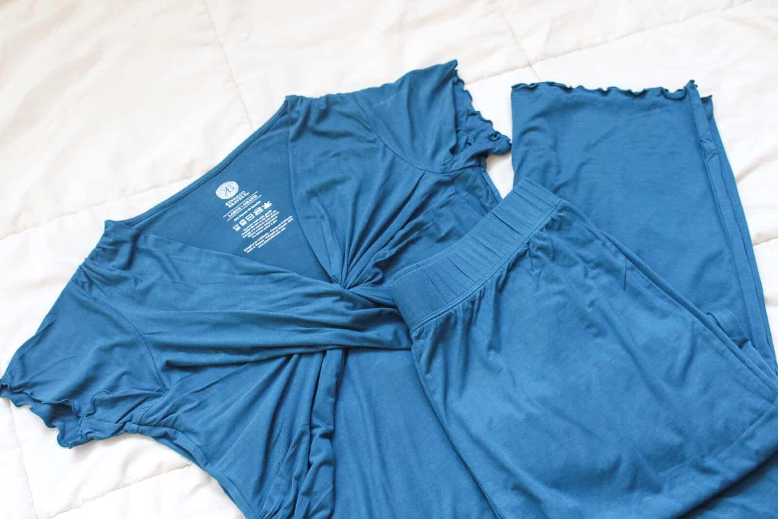 Blue postpartum clothes.