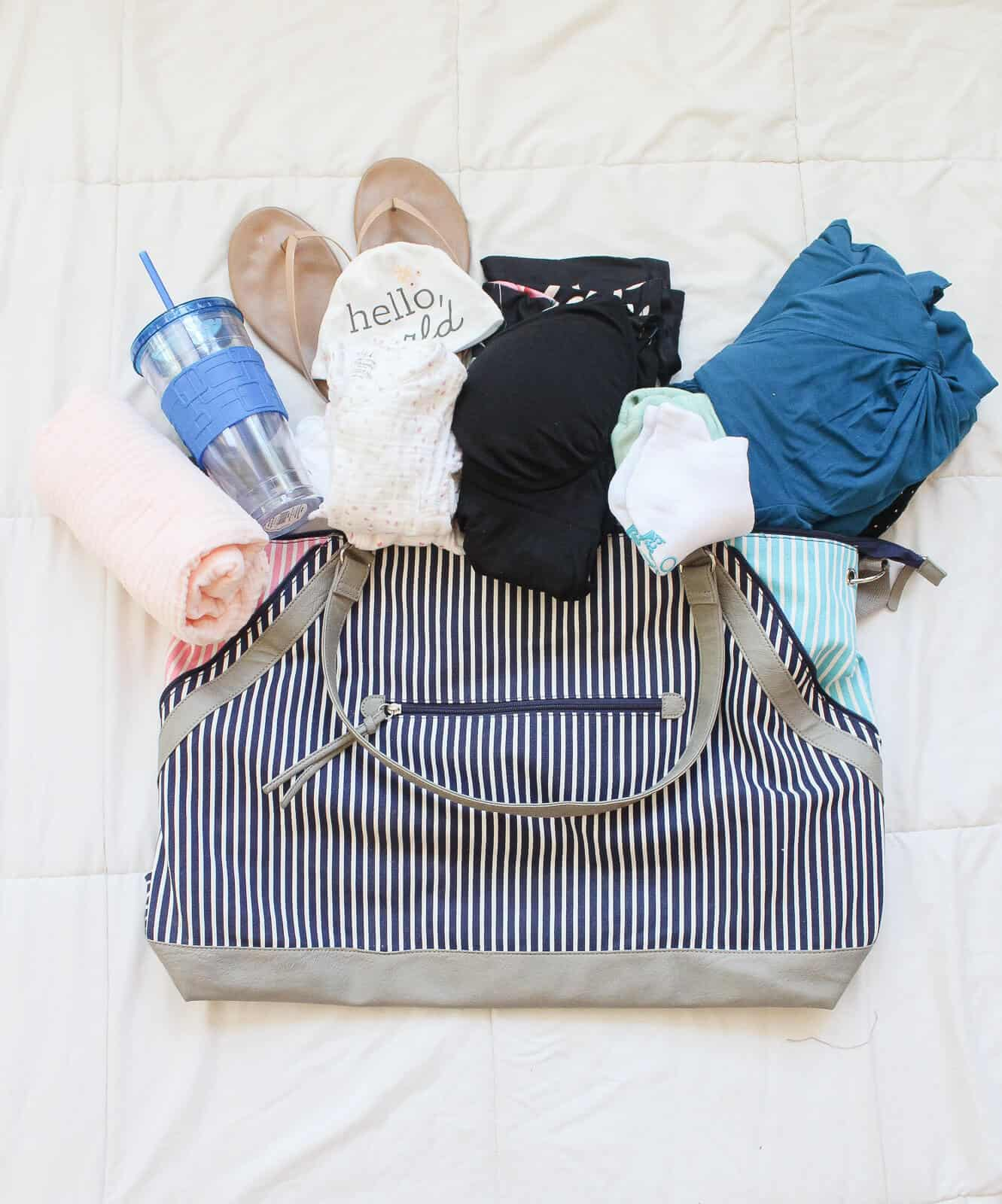 Hospital bag with items for expectant mothers.