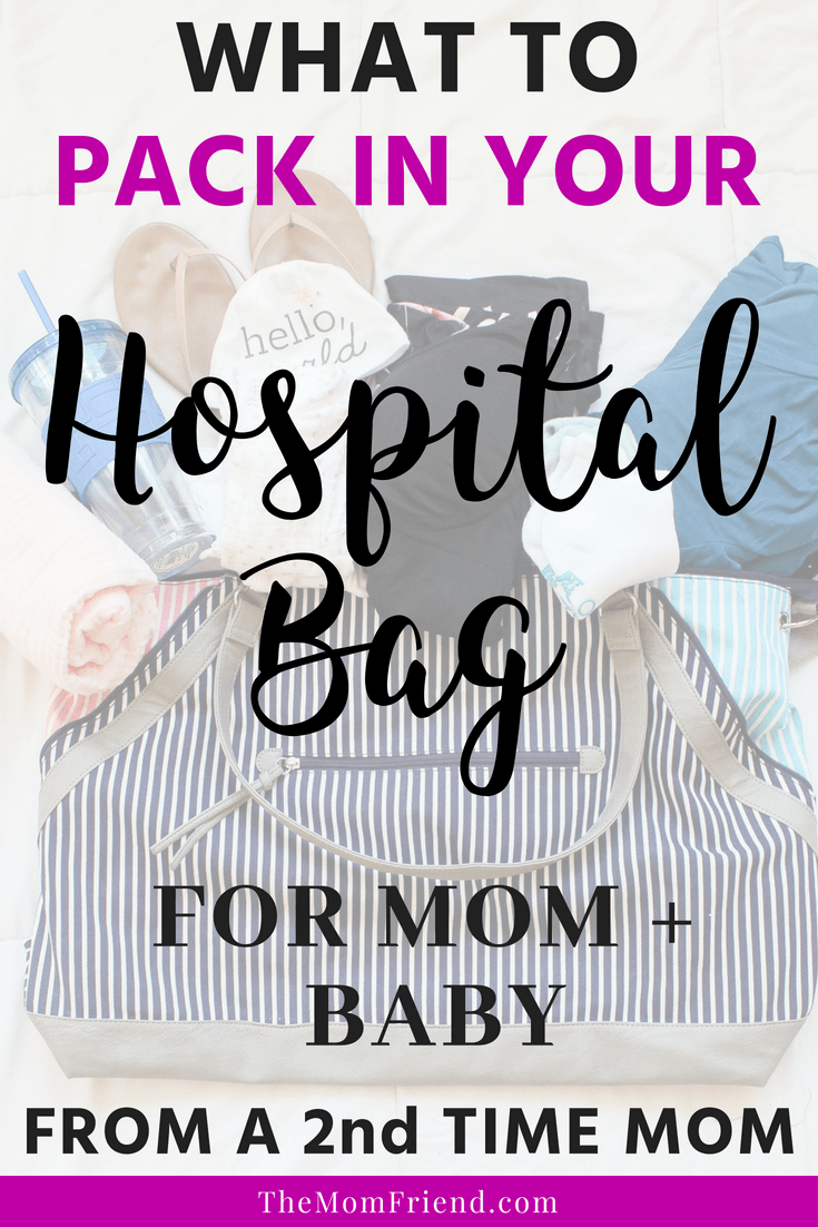 Pinterest graphic with text and image of hospital bag.