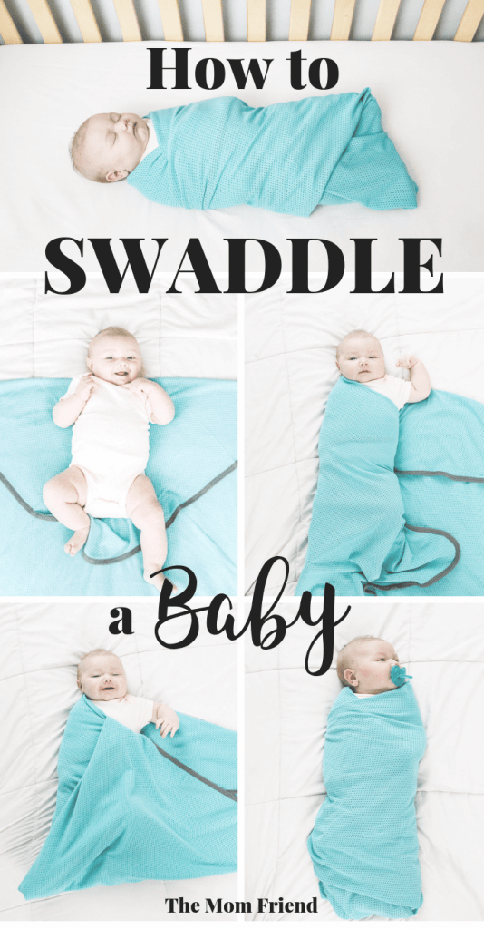 collage of photos for how to swaddle a baby