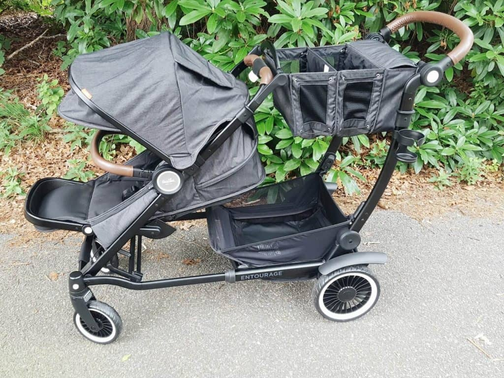Stroller sits on walking patch.