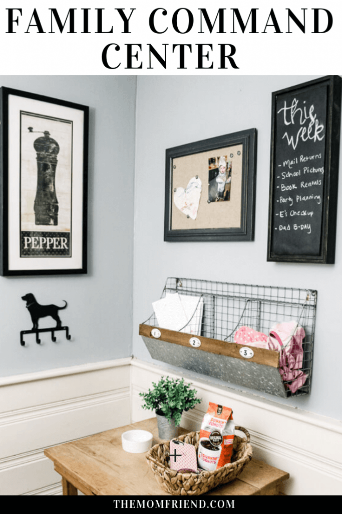 Easy and affordable to create a rustic farmhouse family command center to help with organization. #homedecor #rustic #farmhouse #commandcenter #kitchendecor