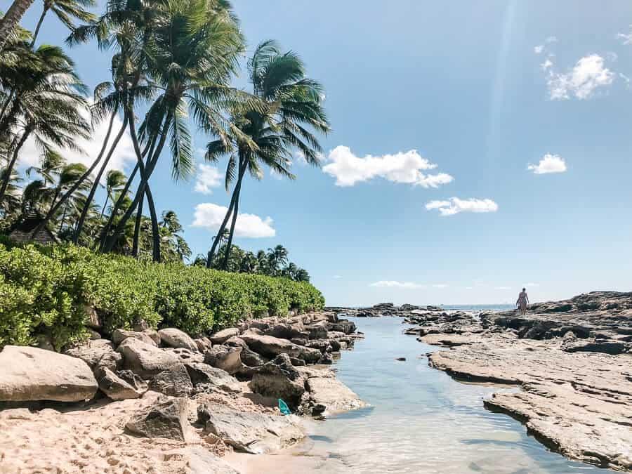 Water channel at hidden Oahu beach.