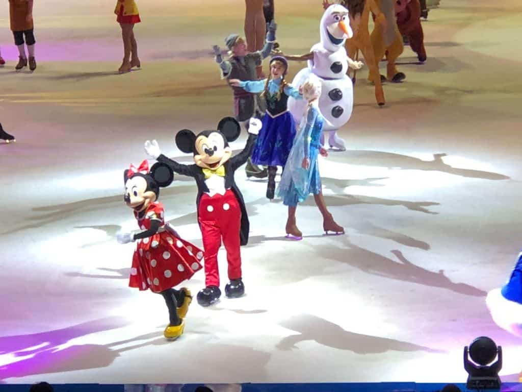 Disney characters perform on ice.