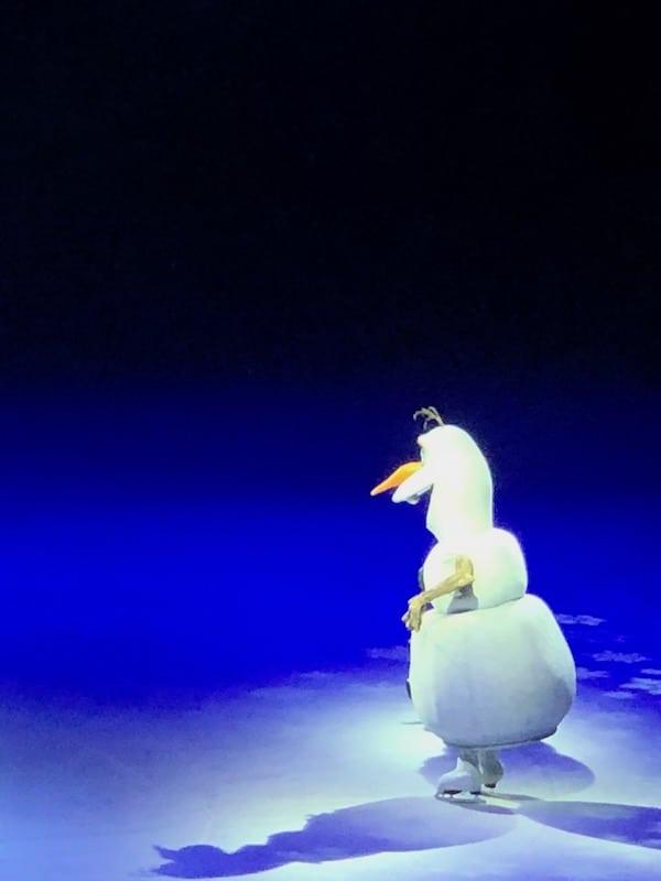 Frozen Disney character on ice skates.