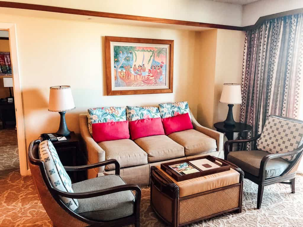 Disney Resort hotel room living area.