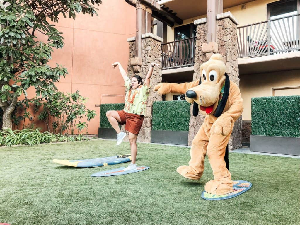 Instructor leads activity with Disney character at Aulani resort.