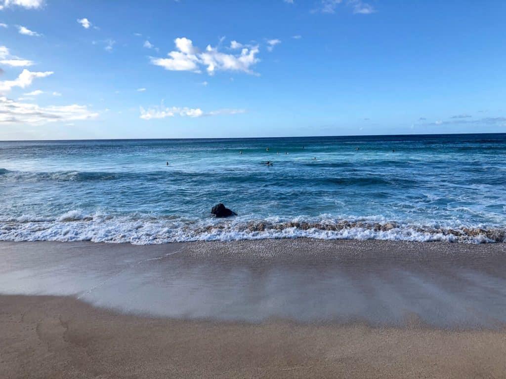 Beach and ocean in Oahu.
