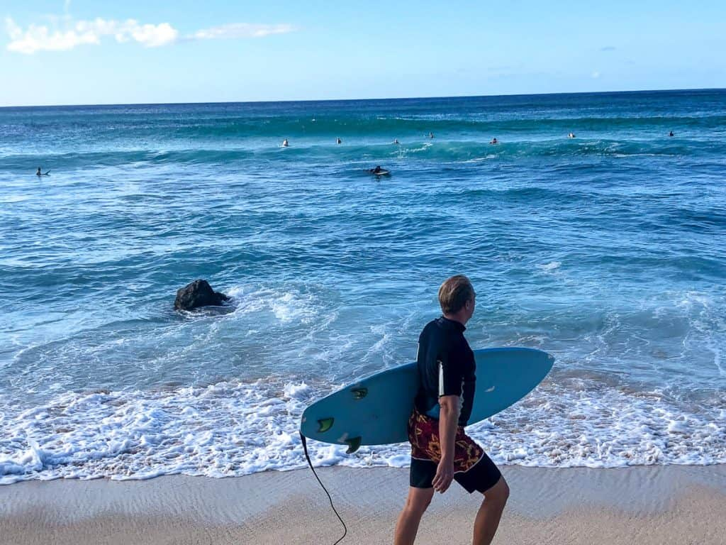 Surfers and swimmers on Hawaii beach.