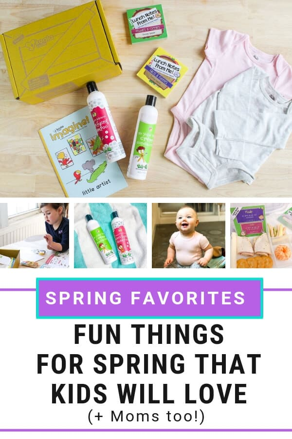 Pinnable image of Products for Spring that Kids (and Moms) will Love.