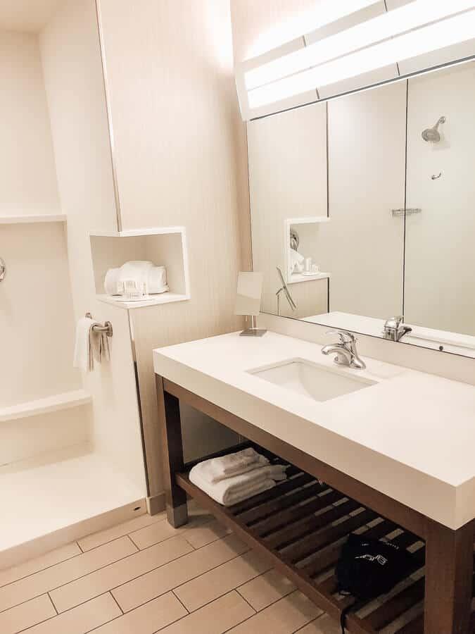 Bathroom in hotel room in Hawaii.