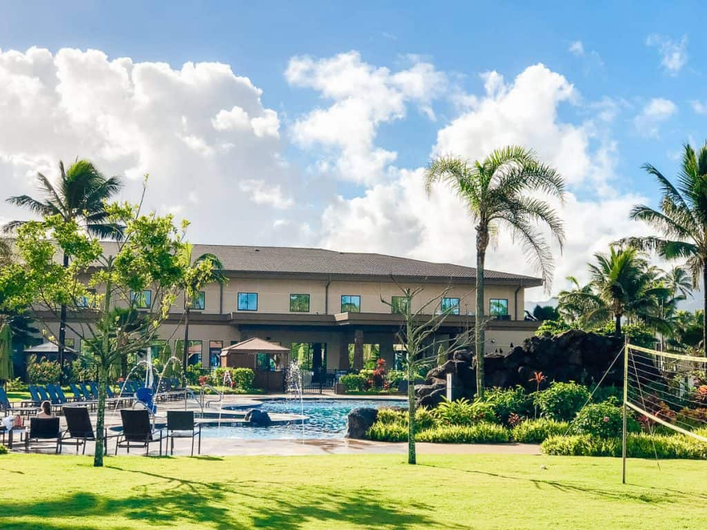 Hotel pool in Oahu Hawaii.