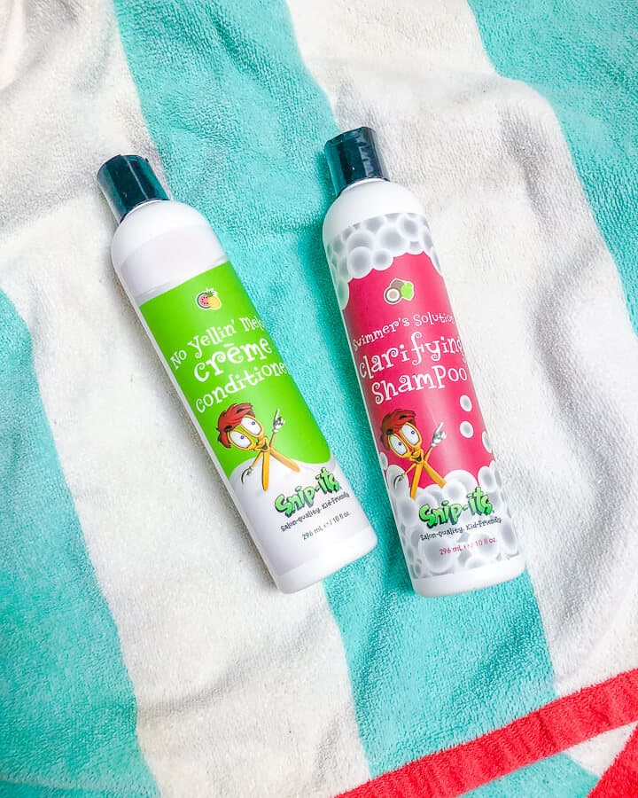 Spring breach products for kids on towel.