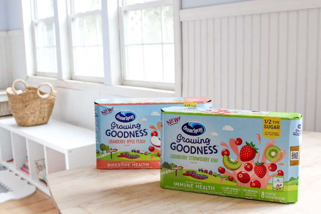 boxes of Ocean Spray Growing Goodness juice drinks