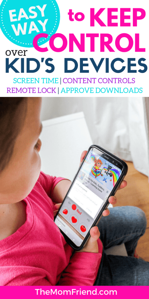 Child with device with words easy way to keep control over kids' devices
