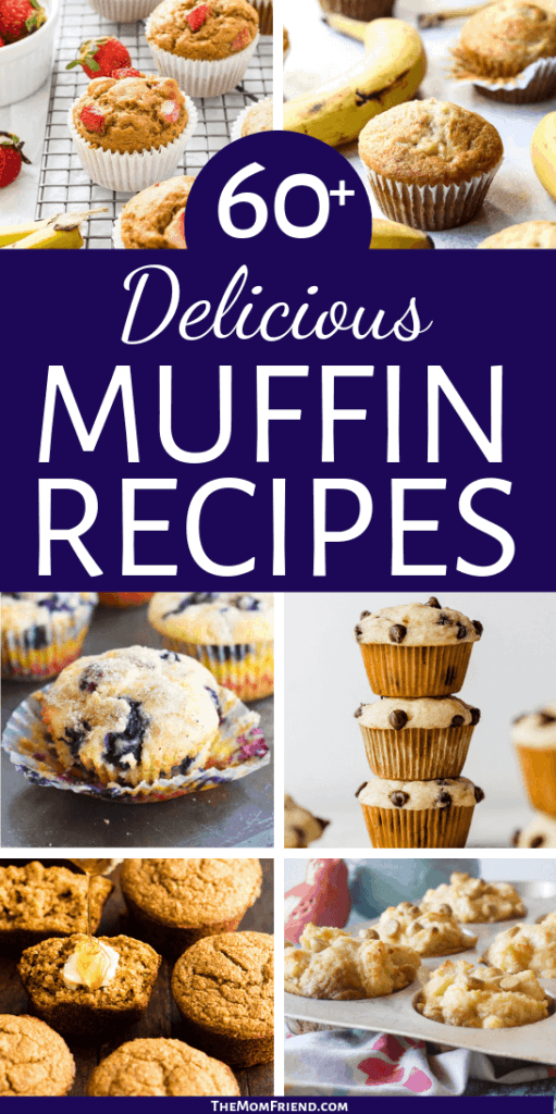 photos of muffins with text 60+ delicious muffin recipes