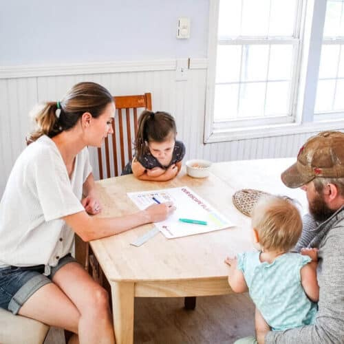 Family creating emergency escape plan while preparing for home emergencies