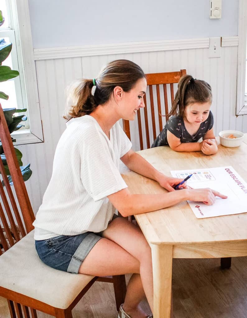 Mom and daughter creating emergency escape plan while preparing for home emergencies