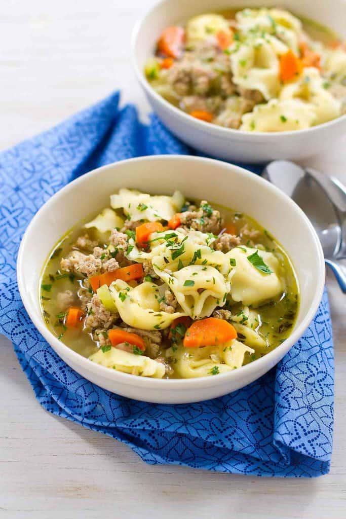 Pesto Turkey Tortellini Soup Recipe - 30 Minute Meal