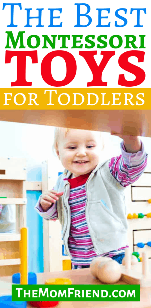 Pinterest pin image with child that says Top Montessori Toys for Toddlers