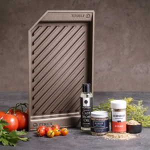 Indoor grill pan and grilling spices man crate