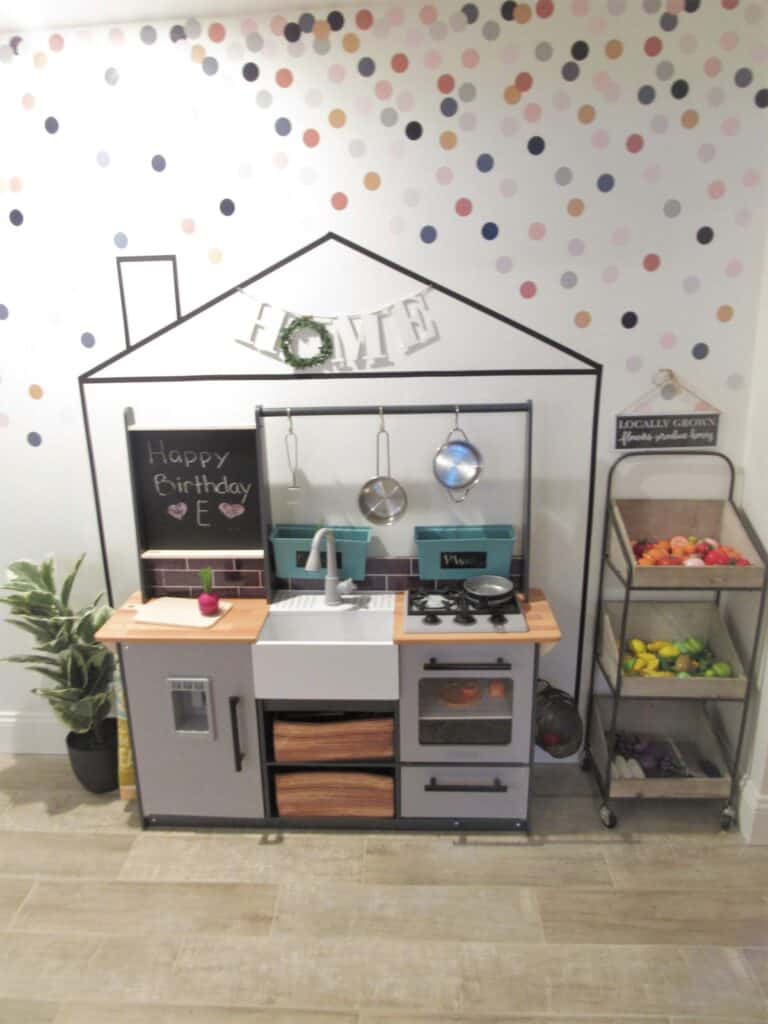 modern farmhouse play kitchen with food stand