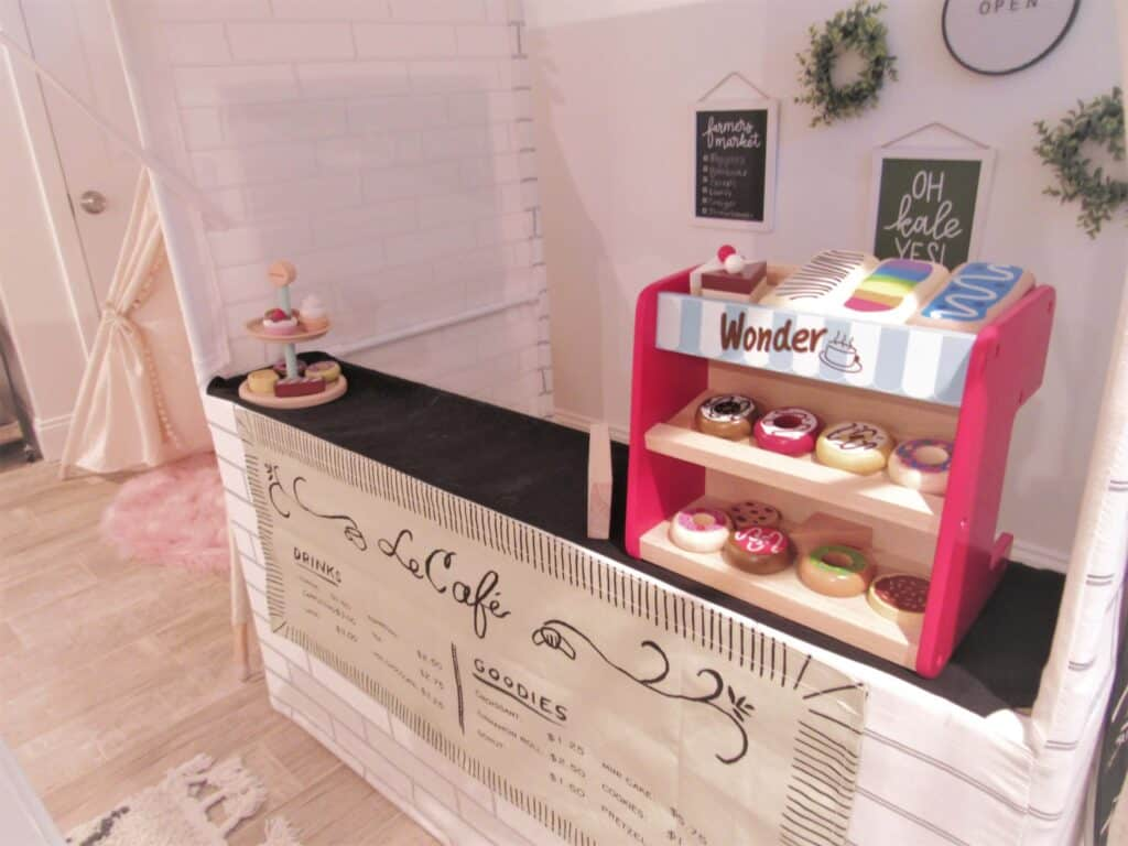 children's playroom cafe stand with donuts