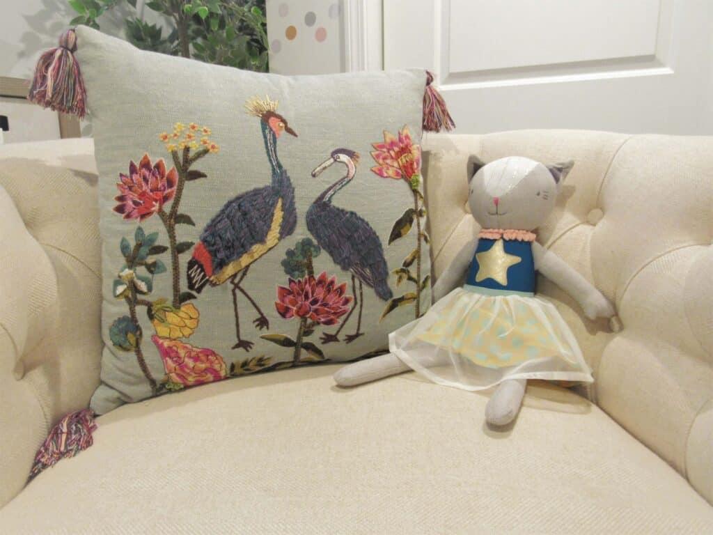 Couch decor in a modern farmhouse playroom