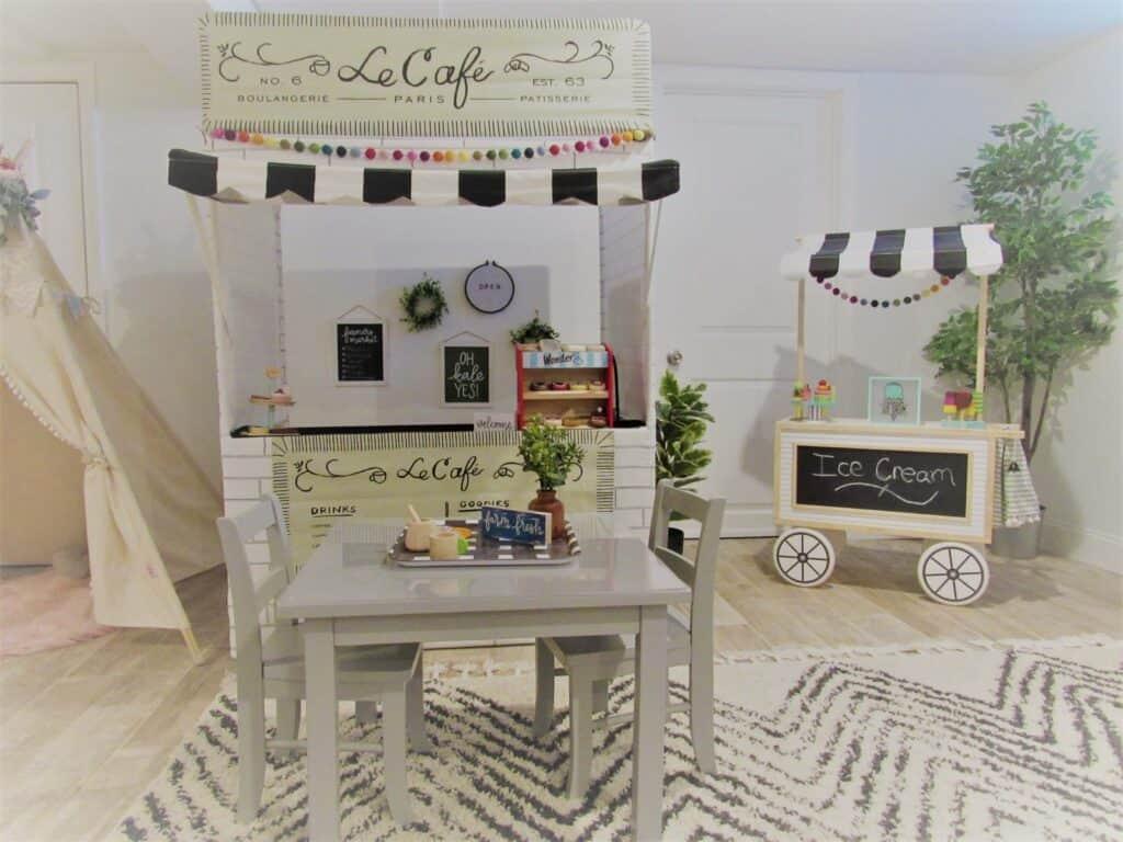 modern farmhouse playroom pretend play areas