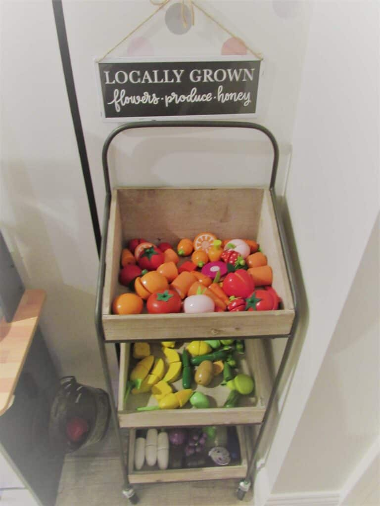 cute produce cart for kids play kitchen