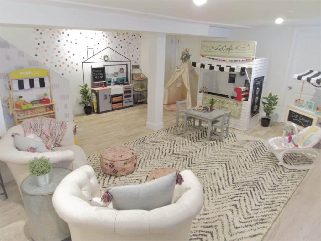 spacious and beautiful neutral playroom in basement