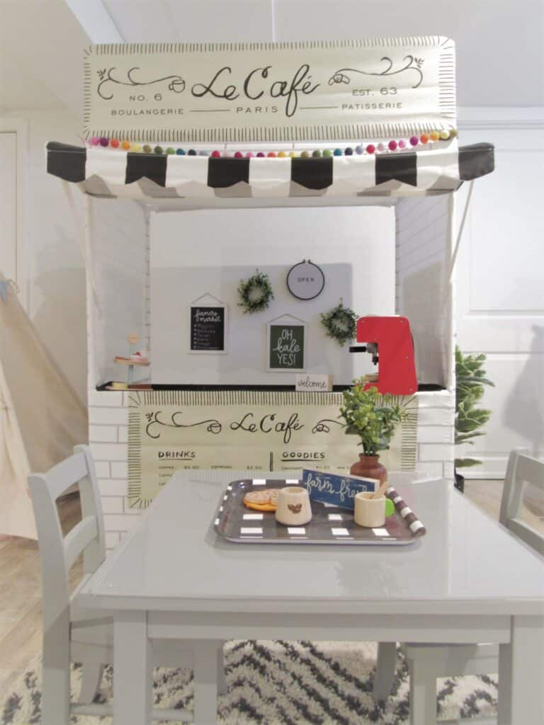adorable french cafe stand for kids playroom