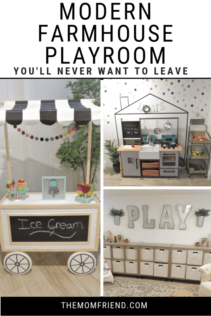 images from a modern farmhouse playroom including toys and decor
