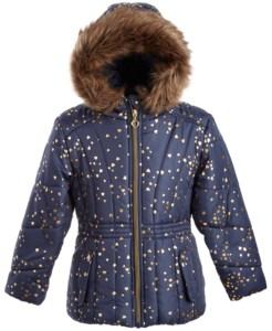 blue girls puffer coat