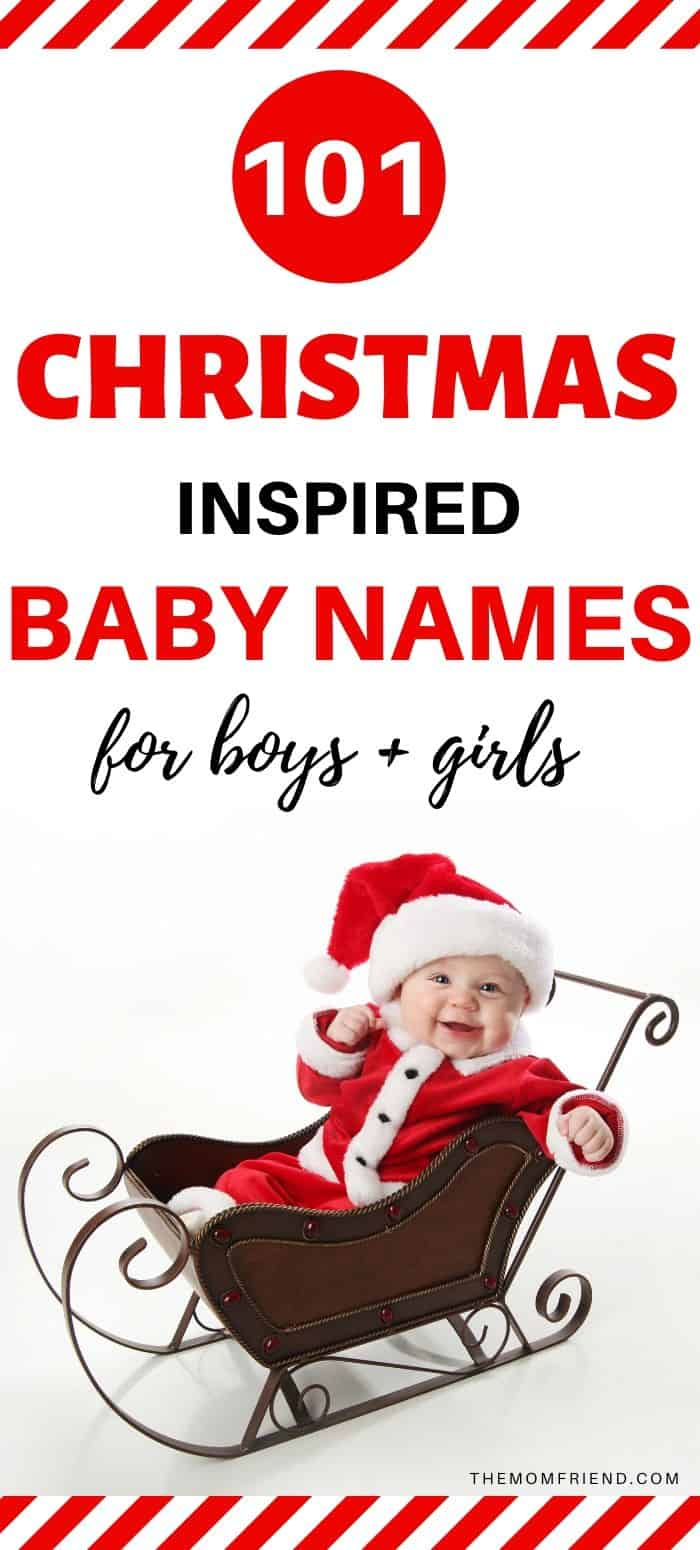 Christmas Baby in Sled with words 101 christmas inspired baby names for boys + girls