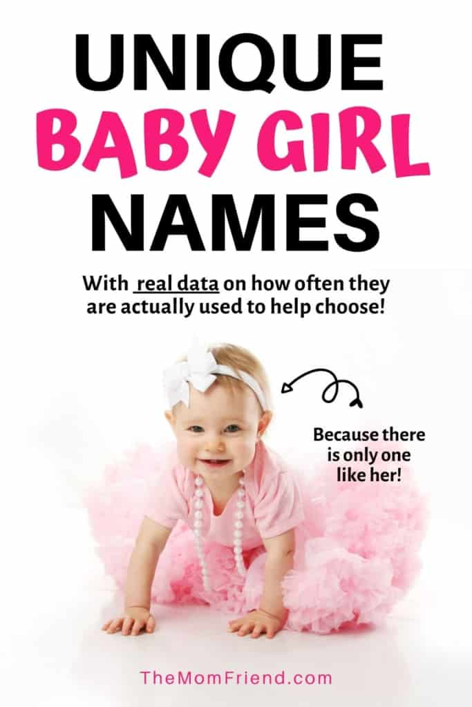 baby girl in pink tutu with words Unique baby girl names