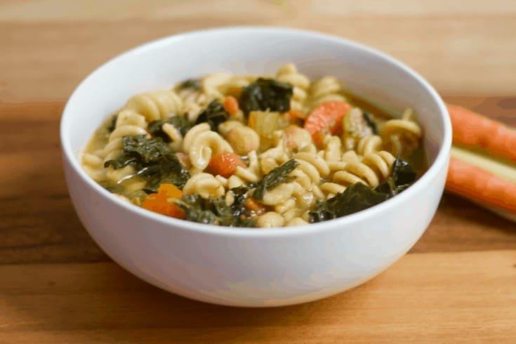 Instant Pot Vegan ChickPEA Noodle Soup [vegan + gluten-free]