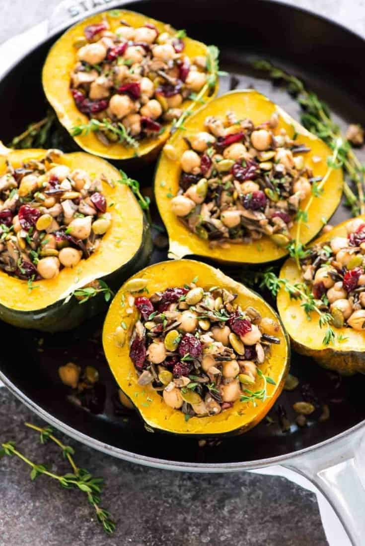 Instant Pot Acorn Squash Stuffed with Wild Rice Cranberries and Chickpeas