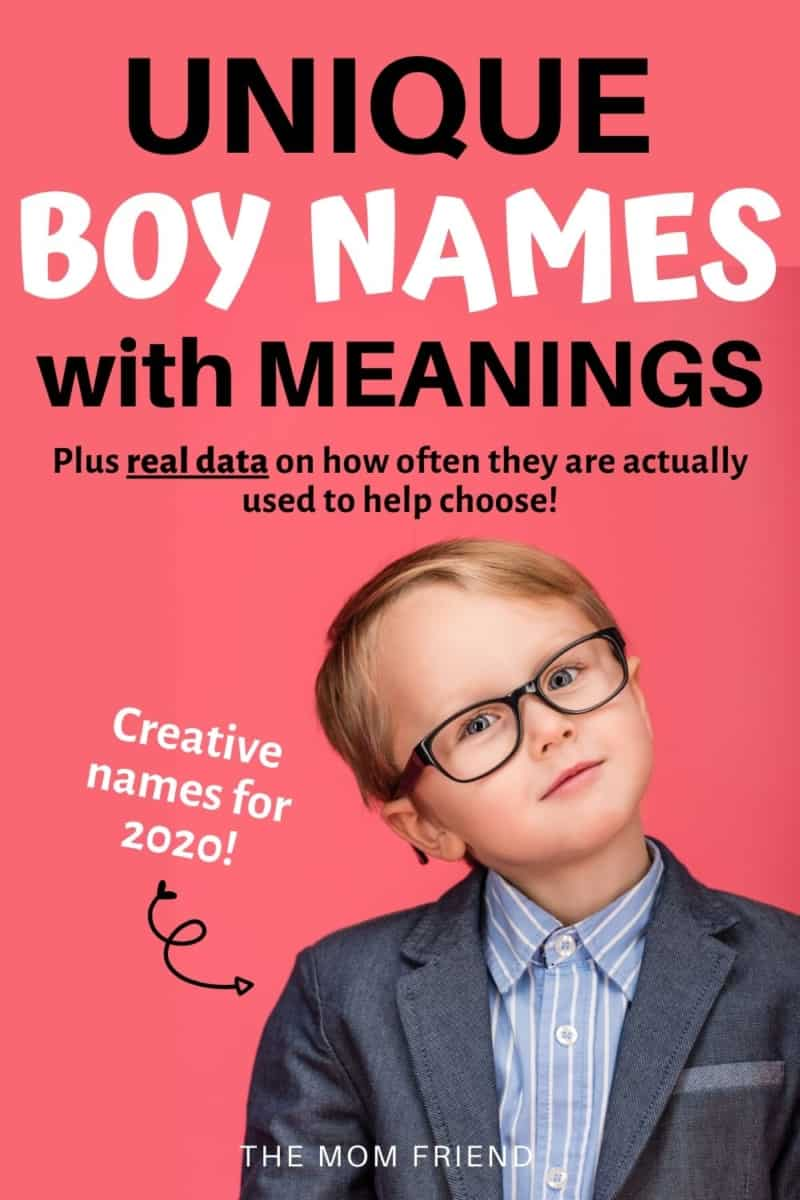 image of young boy with glasses with text unique boy names with meanings creative names for 2020