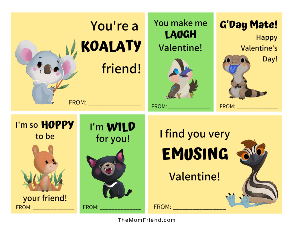 cute printable valentines for kids with aussie animals and fun sayings