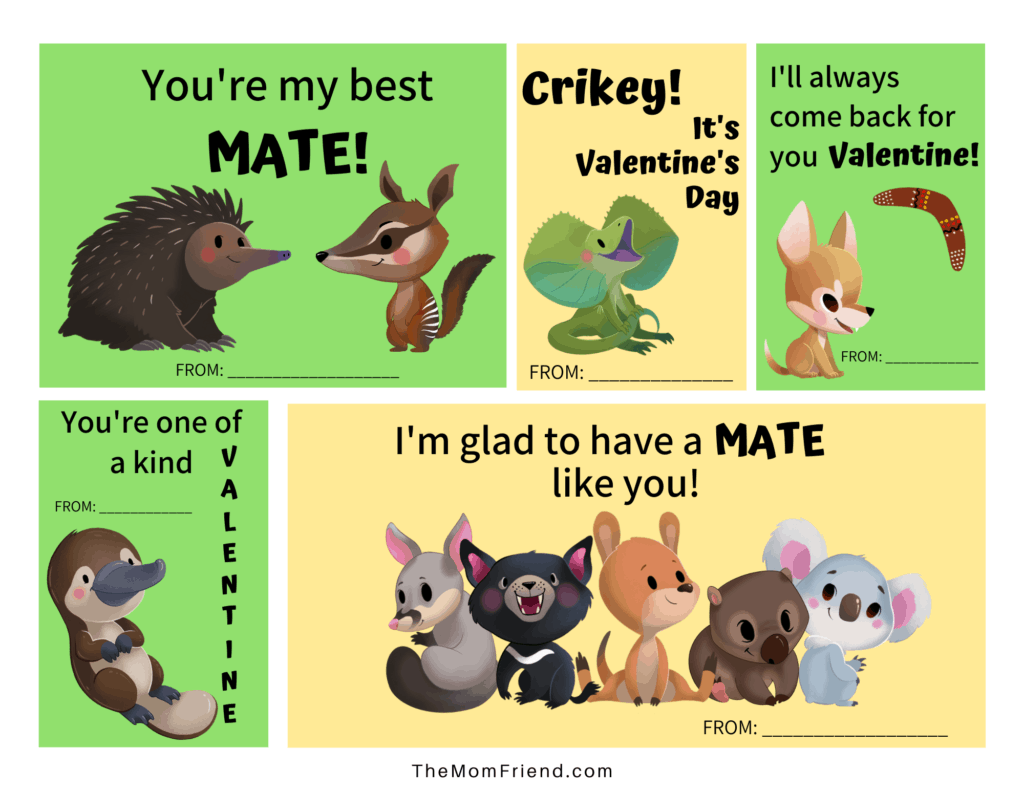 set of printable valentines with Aussie animals and fun sayings for kids